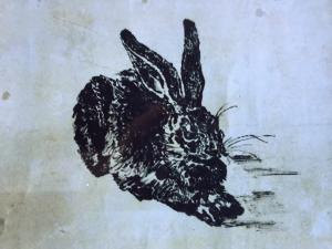 古川秀昭「うさぎ」1956年,和紙,割りばし,墨